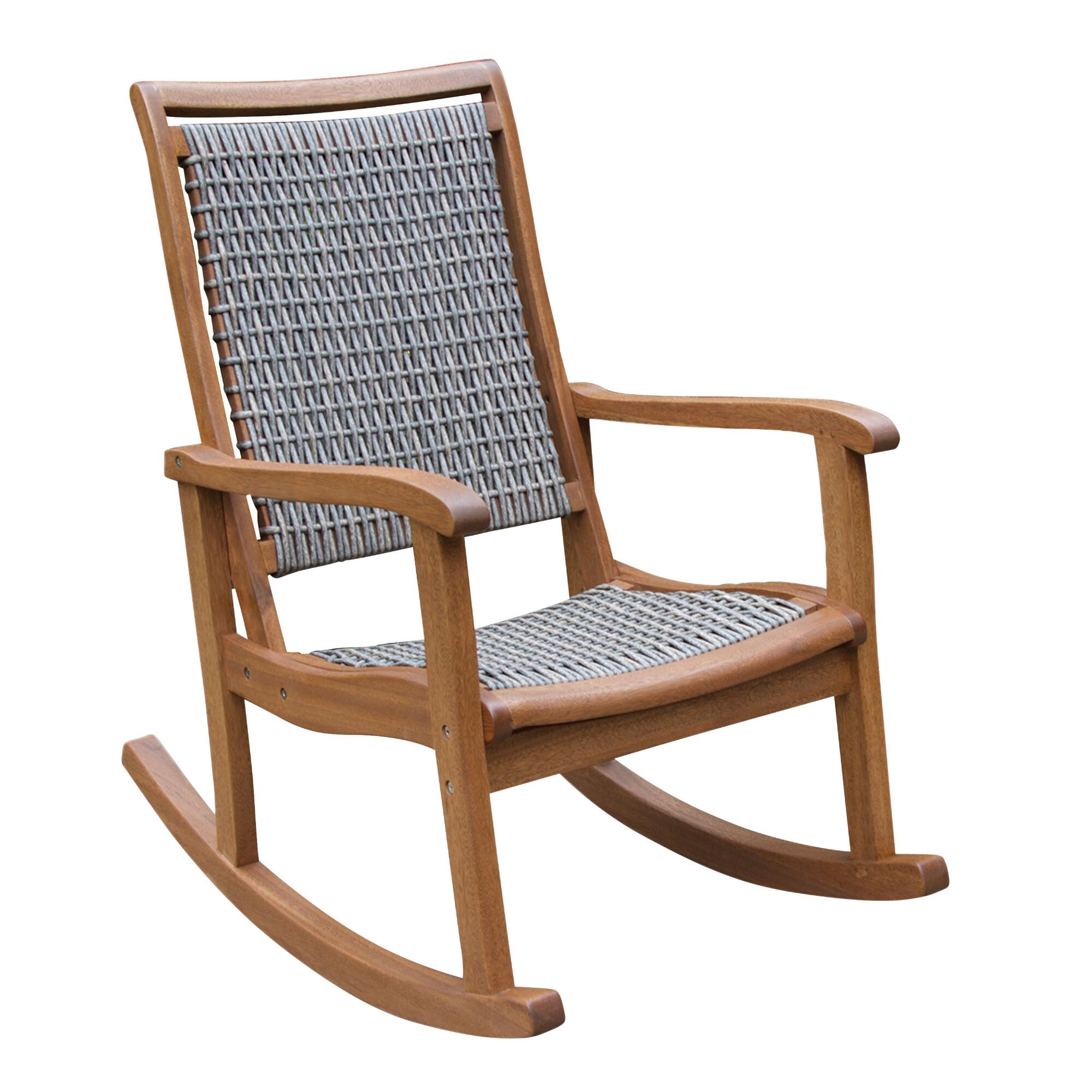 Gray all weather wicker and wood galena rocking chair for Rocking chair