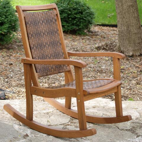 Brown All-Weather Wicker and Wood Galena Rocking Chair  World Market