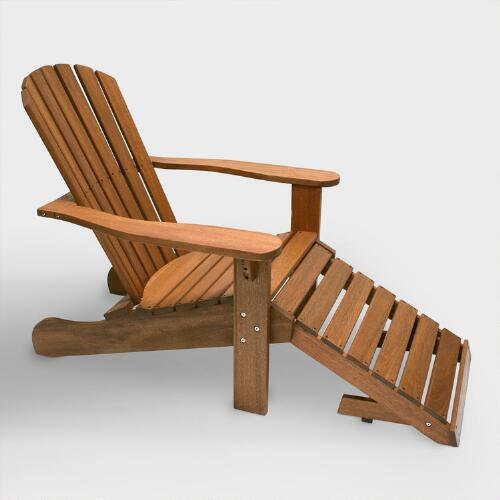 Wood adirondack chair with stow away ottoman world market
