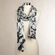Black Tie-Dye Scarf with Pom-Poms