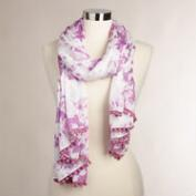 Purple Tie-Dye Scarf with Pom-Poms