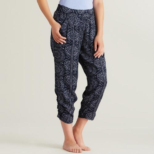 Navy Ruched Sia Pants