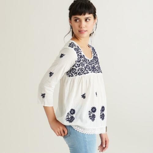 White and Navy Embroidered Alli Shrt