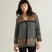 Black Embroidered Adia Jacket with Tie