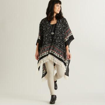 Black, White and Red Raffia Kimono