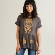 Grey with Orange Embroidery Naia Blouse