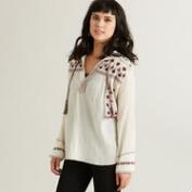 Ivory Vida Top with Black and Wine Embroidery