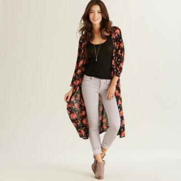 Long Red Floral Juna Jacket