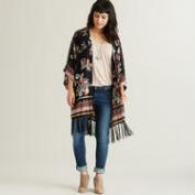 Black Floral Laura Kimono with Fringe