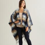 Blue and Brown Tribal Ruana Wrap