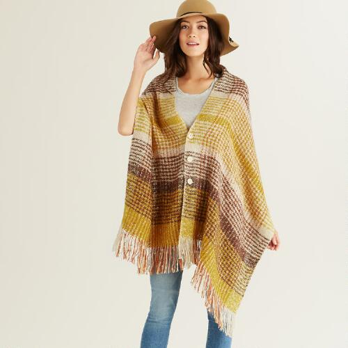 Yellow Plaid Poncho