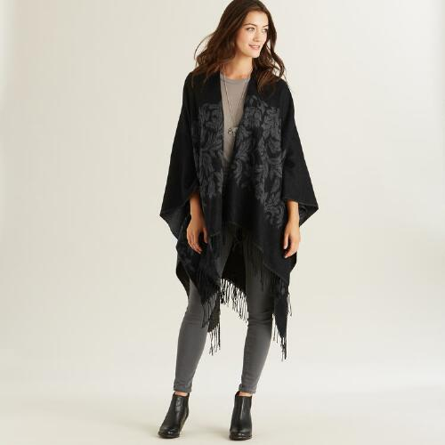 Black and Grey Ruana Wrap