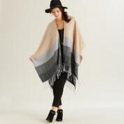 Cream, Black and Grey Ruana Wrap