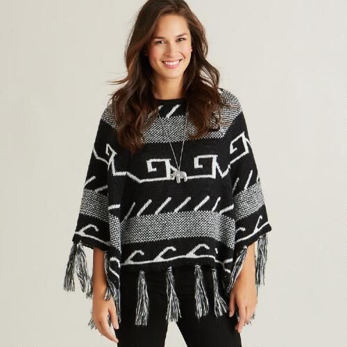 Black and White Tribal Poncho