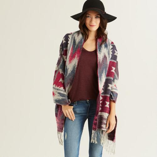 Red and Blue Southwestern Blanket Scarf