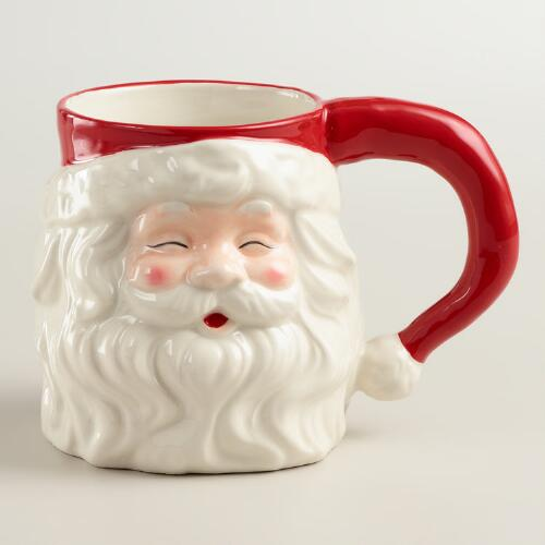 Hand-Painted Santa Mug, Set of 4