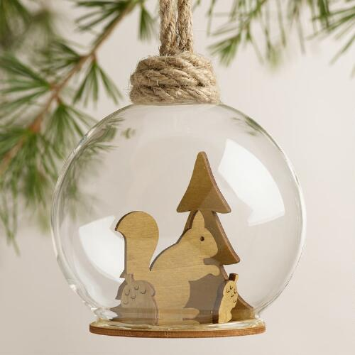 Glass Woodland Cloche Ornaments, Set of 3