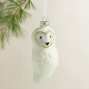 Glass Barn Owl Ornaments, Set of 3