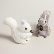 Natural Fiber Frosty Squirrel Decor, Set of 2