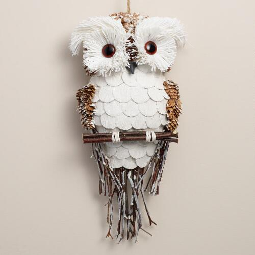 Natural Fiber Frosty Owl Hanging Decor