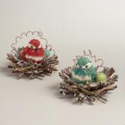 Natural Fiber Bird in Nest Decor, Set of 2