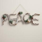 Glittered Twig Peace Wall Décor