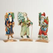 Metal Vintage-Style Santa Decor, Set of 3