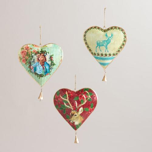 Metal Vintage-Style Heart with Bell Decor, Set of 3