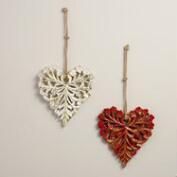Carved Heart Hanging Decor, Set of 2