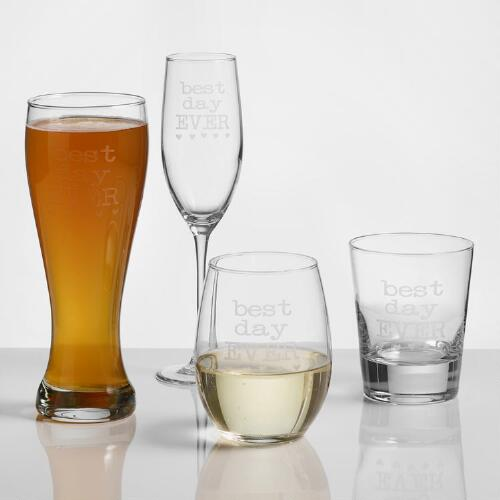 """Best Day Ever"" Etched Glassware, Set of 2"