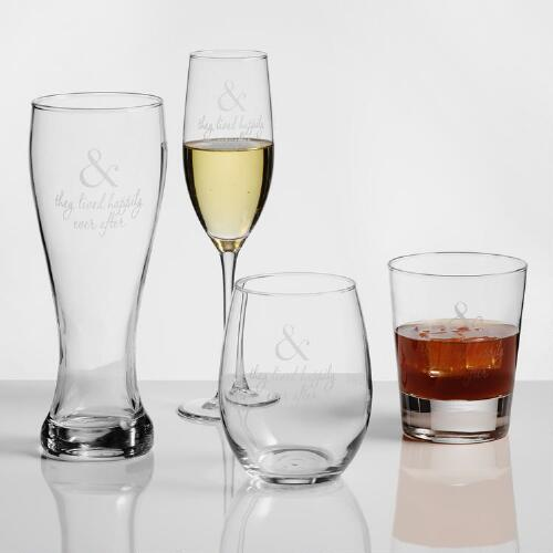 """Happily Ever After"" Etched Glassware, Set of 2"