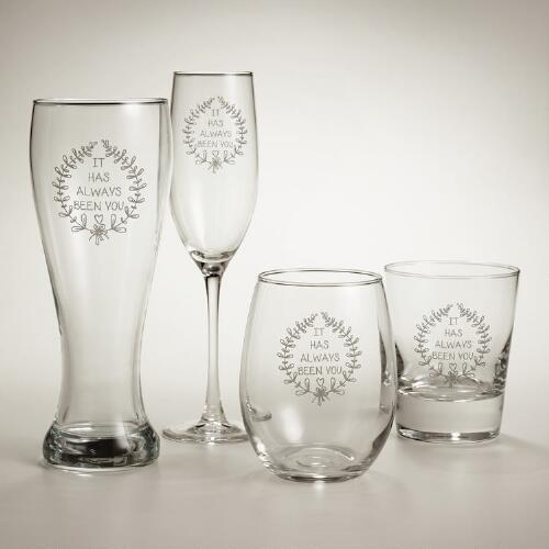 """Always Been You"" Etched Glassware, Set of 2"
