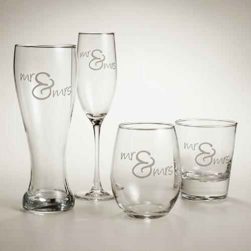 Mr. and Mrs. Script Glassware, Set of 2