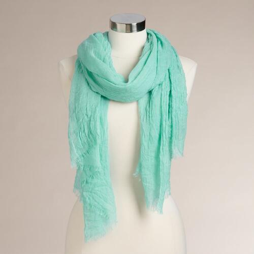 Wide Mint Sheer Scarf