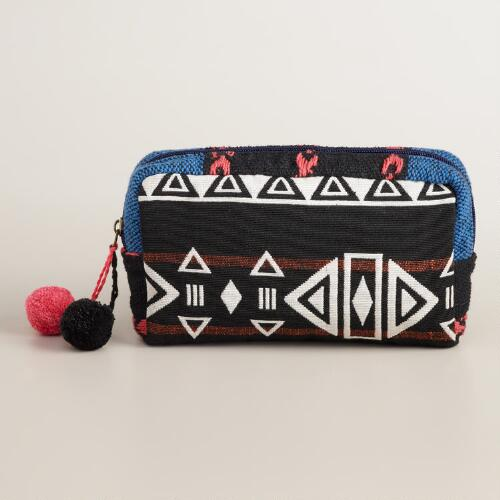 Blue White and Black Makeup Bag with Pom-Poms