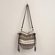 Black Cream Tribal Bucket Bag