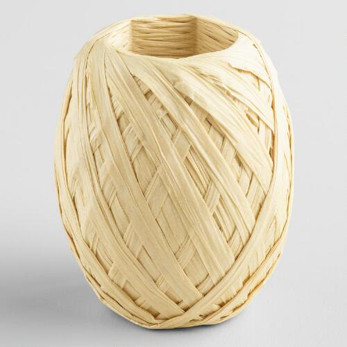Natural Paper Raffia Ribbon Eggs, Set of 2