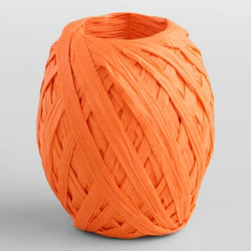 Orange Paper Raffia Eggs, Set of 2
