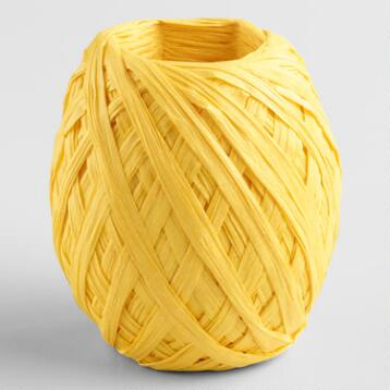 Yellow Paper Raffia Eggs, Set of 2