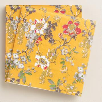 Yellow Grace Floral Thanksgiving Lunch Napkins, 20-Count