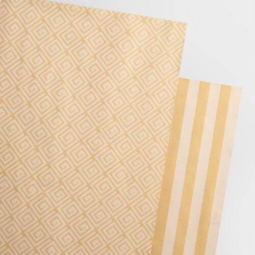 Reversible Printed Kraft Wrapping Paper Rolls, 2-Pack