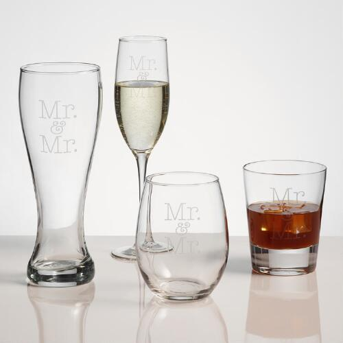 Mr. and Mr. Etched Glassware, Set of 2