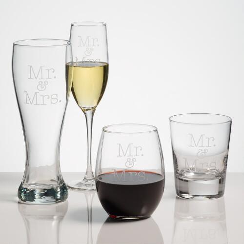 Mr. and Mrs. Etched Glassware, Set of 2