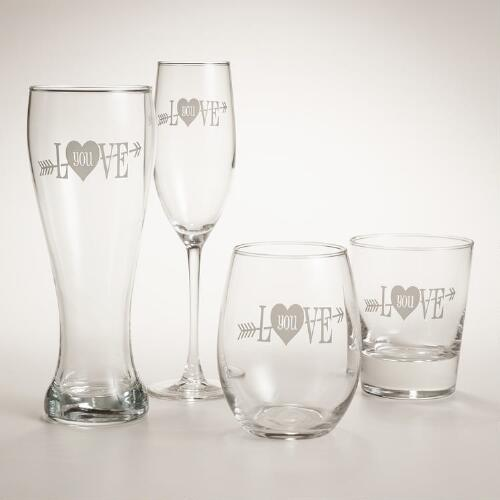 """Love You"" Etched Glassware, Set of 2"