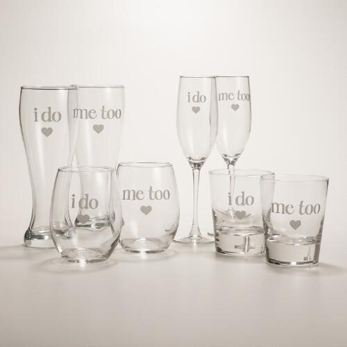 """I Do, Me Too"" Etched Glassware, Set of 2"