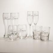Yours or Mine Script Glassware, Set of 2