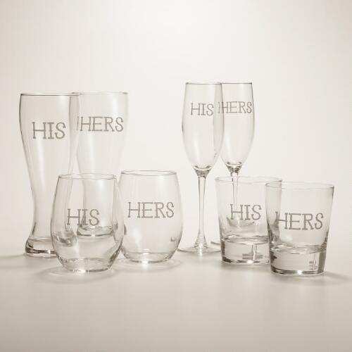 His or Hers Etched Glassware, Set of 2