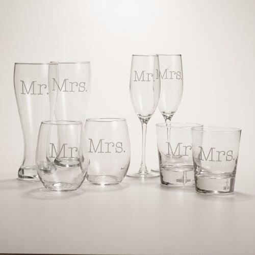 Mr. or Mrs. Etched Glassware, Set of 2