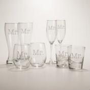Mr. or Mr. Etched Glassware, Set of 2