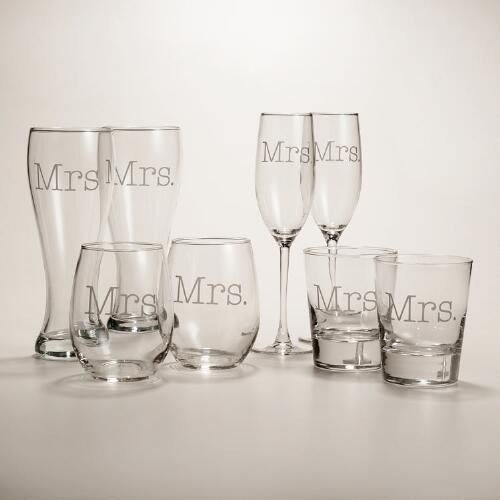 Mrs. or Mrs. Etched Glassware, Set of 2